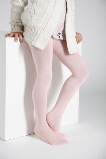 Детские однотонные хлопковые колготки нежно-розового цвета CALDO | Sokisahtel