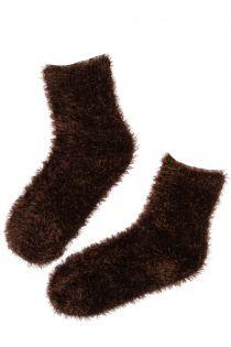 Женские мягкие и пушистые домашние носки коричневого цвета LOORES | Sokisahtel