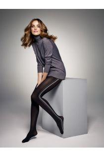 Женские колготки черного цвета с полосками по бокам серого цвета JESS 60DEN | Sokisahtel