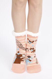 CIRCUS soft beige home socks with anti-slip sole | Sokisahtel