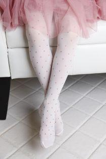 FIONA 20 DEN children's white tights with golden dots | Sokisahtel