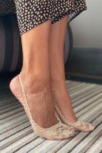 AIDA beige lace toe socks for women | Sokisahtel