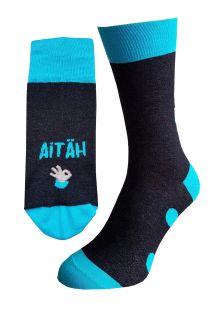 AITÄH (THANK YOU) black cotton socks for men | Sokisahtel