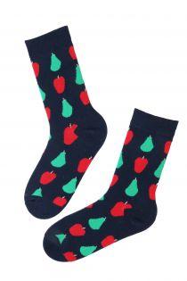 Женские хлопковые носки темно-синего цвета с узором в виде яблок и груш CARIN | Sokisahtel