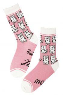 CAT LOVER women's pink socks | Sokisahtel