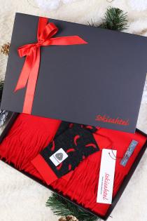 Alpakavillase punase salli ja PEPPER sokkidega kinkekarp | Sokisahtel