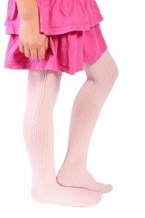 Детские колготки нежно-розового цвета с красивым узором в полоску EGLE | Sokisahtel