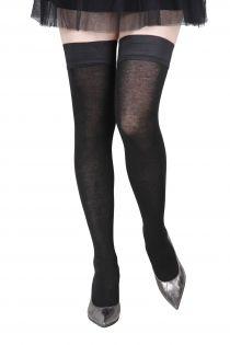 Женские чулки черного цвета с содержанием шелка ELENA | Sokisahtel
