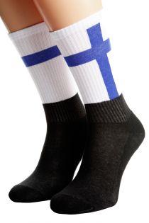Хлопковые носки для женщин и мужчин с финским флагом FINLAND | Sokisahtel