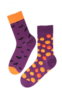 FLYING BAT halloweeni sokid kõrvitsate ja nahkhiirtega | Sokisahtel