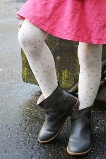 Детские хлопковые колготки кремово-белого цвета с узором в блестящий горошек GAIA | Sokisahtel