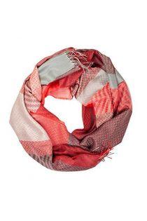 Шаль с клетчатым узором в оттенках красного цвета из смеси шелка и шерсти альпака ALPACA | Sokisahtel