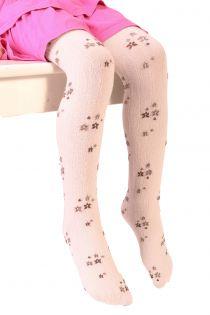 Детские хлопковые ребристые колготки нежно-розового цвета с цветочным узором GRETA | Sokisahtel