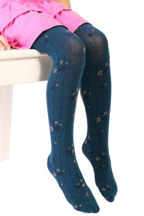 Детские хлопковые ребристые колготки синего цвета с цветочным узором GRETA | Sokisahtel