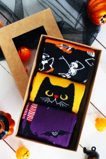 Подарочный набор на Хэллоуин из 3 пар хлопковых носков EVIL CAT | Sokisahtel
