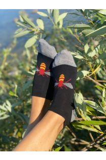 Женские укороченные (спортивные) хлопковые носки с тканым изображением пчёл BEE (пчела) | Sokisahtel