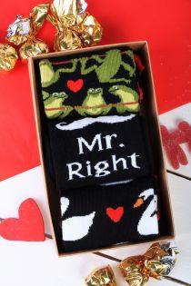 Подарочный набор из 3 пар ярких и запоминающихся хлопковых носков для мужчин MR.RIGHT   Sokisahtel