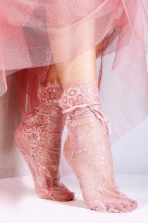 Женские элегантные кружевные носки розового цвета с атласной лентой JANELI | Sokisahtel