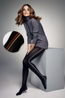 Женские колготки черного цвета с полосками по бокам бордового цвета JESS 60DEN | Sokisahtel