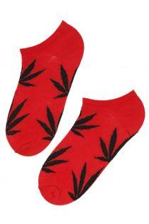 Женские укороченные носки красного цвета с черными листьями конопли KANEP | Sokisahtel