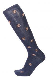 KASPAR blue cotton knee-highs for men | Sokisahtel