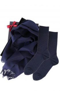 Alpakavillast salli ja VEIKO tumesiniste sokkidega kinkekarp meestele | Sokisahtel