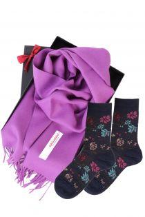 Alpakavillast salli ja MIINA siniste sokkidega kinkekarp naistele | Sokisahtel