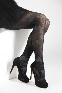 Женские элегантные колготки черного цвета с цветочным узором серого цвета KLAARA 60DEN | Sokisahtel
