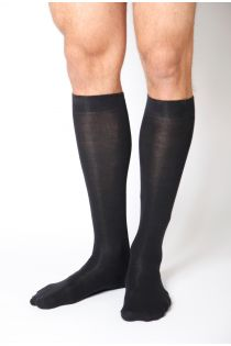 KRISS black cotton knee highs for men | Sokisahtel