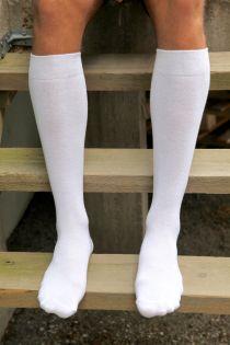 KRISS white cotton knee highs for men | Sokisahtel