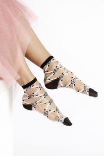 KRISTIN sheer black and white socks for women | Sokisahtel
