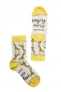 Женские хлопковые носки с жирафами MOMENT | Sokisahtel