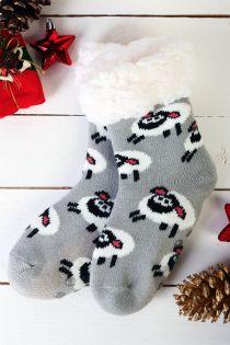 NIILO cute grey anti-slip home socks for kids | Sokisahtel