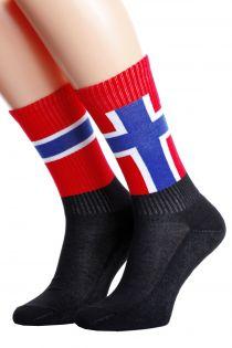 Хлопковые носки для женщин и мужчин с норвежским флагом NORWAY | Sokisahtel