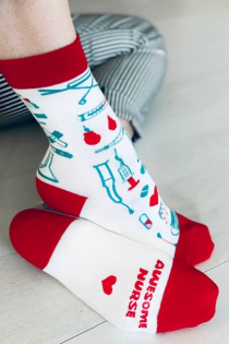 NURSE white cotton socks | Sokisahtel