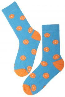 Мужские хлопковые носки синего цвета с узором в виде апельсинов ORANGE | Sokisahtel