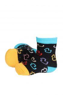 Хлопковые противоскользящие носки черного цвета с разноцветными резиновыми уточками для малышей PARDIRALLI (утиное ралли)   Sokisahtel