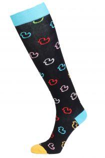 Хлопковые гольфы черного цвета с разноцветными резиновыми уточками для женщин PARDIRALLI (утиное ралли) | Sokisahtel