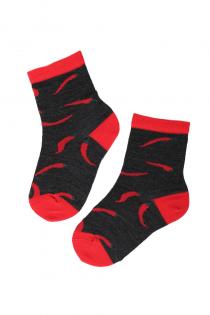 PEPPER merino wool socks with chillies for kids | Sokisahtel
