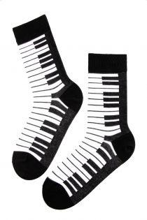 PIANO black cotton socks for men | Sokisahtel
