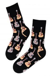 Мужские носки с гитарами PUREJOY, чёрный цвет | Sokisahtel