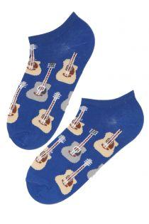 Мужские укороченные носки синего цвета с гитарами PUREJOY | Sokisahtel