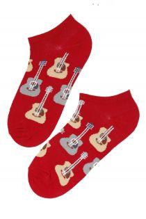 Мужские укороченные носки красного цвета с гитарами PUREJOY | Sokisahtel