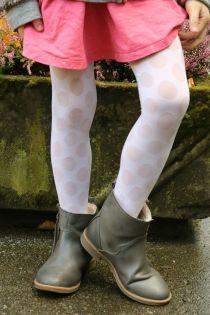 Детские колготки кремово-белого цвета с узором в крупный горошек SABINA | Sokisahtel