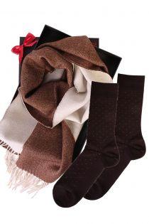 Kahepoolse alpakavillast salli ja VEIKO sokkidega kinkekarp meestele | Sokisahtel