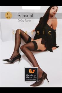 Женские классические тонкие чулки черного цвета LISCIA 15DEN (без силиконовых вставок) | Sokisahtel