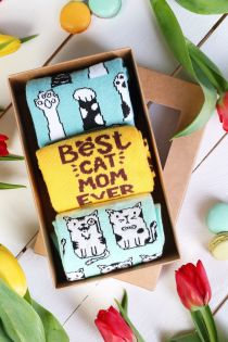 CAT MOM Mother's Day gift box with 3 pairs of socks | Sokisahtel