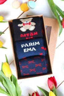 AITÄH EMA(THANK YOU MOM) Mother's Day gift box with 3 pairs of socks | Sokisahtel