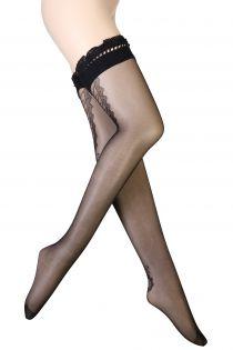 Женские фантазийные чулки черного цвета с узором в виде шнуровки и полоски EVELINE | Sokisahtel