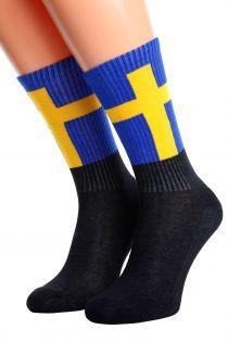 Хлопковые носки для женщин и мужчин с шведским флагом SWEDEN | Sokisahtel